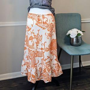 Boho Floral Linen Maxi Ruffle Casual Skirt